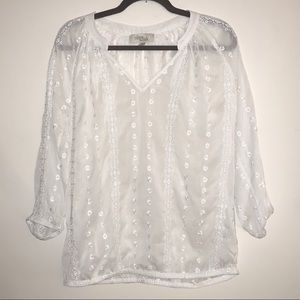 OLIVE & OAK   Sheer Embroidered White Top
